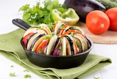 ratatouille 被烘烤的蔬菜 免版税库存照片