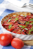 Ratatouille. In oven dish on a rustic table stock photos