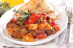 Ratatouille. With fresh herbs and potato stock image