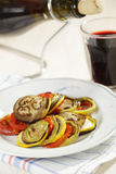 Ratatouille. Ready-to-eat ratatouille with red wine stock photo