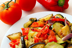 Ratatouille. Plate of warm mixed vegetable Ratatouille royalty free stock images