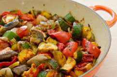 Ratatouille. Roasted ratatouille vegetables fresh from the oven royalty free stock photo