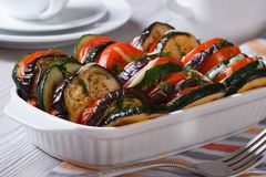 Ratatouille in a baking dish close up Stock Images