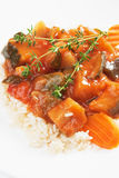 Ratatouille with cooked rice Stock Photo