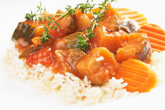 Ratatouille with cooked rice Royalty Free Stock Images
