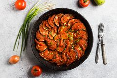 Ratatouille french provence dish of vegetables zucchini eggplant peppers stock images