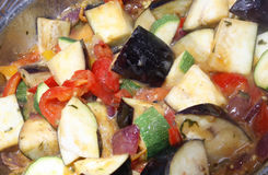 Ratatouille. Home made Ratatouille cooking in a pan Stock Photo