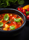 Ratatouille. Homemade delicious ratatouille soup with basil royalty free stock images