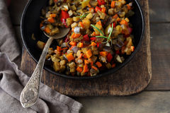 Ratatouille made of eggplants, squash, tomatoes and onions Stock Images
