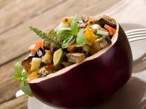 Ratatouille over  eggplant Royalty Free Stock Image