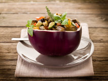 Ratatouille over  eggplant Royalty Free Stock Image