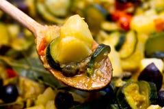 Ratatouille over spoon closeup Stock Photography