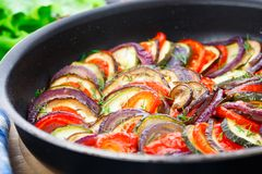Ratatouille in a pan. Delicious freshly cooked ratatouille in a pan stock photos