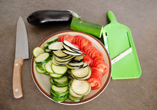 Ratatouille. Preparation of vegetables for cooking of ratatouille. Zucchini, eggplant and tomatoes stock image