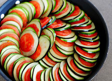 Ratatouille. Preparation of vegetables for cooking of ratatouille. Zucchini, eggplant and tomatoes royalty free stock photo