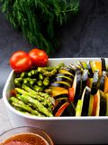 Ratatouille - traditional French Provencal vegetable dish cooked in oven stock photography