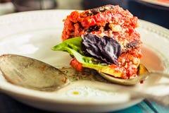 Ratatouille - un piatto vegetariano classico da cucina francese Bak fotografia stock