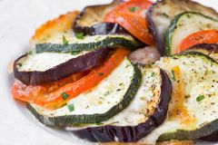Ratatouille, vegetables cut on slices, eggplant, zucchini, tomat Royalty Free Stock Photography