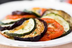 Ratatouille, vegetables cut on slices, eggplant, zucchini, tomat Stock Image