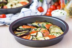 Ratatouille, vegetables cut into slices, eggplant, zucchini Stock Photography