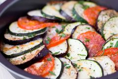 Ratatouille, vegetables cut into slices, eggplant, zucchini Royalty Free Stock Photo