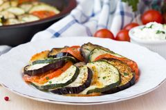 Ratatouille, vegetables cut on slices, eggplant, zucchini Royalty Free Stock Photography