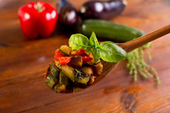 Ratatoulle with basil Royalty Free Stock Photo