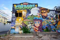 RATCHABURI,泰国- 9月16,2016 :在墙壁上的街道画艺术 免版税库存照片