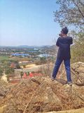 Man photo on mountain inRatchaburi Stock Photography