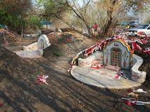 Ratchaburi Tajlandia, Kwiecień, - 05,2018: Cmentarz przy Grobowcowym ogólnym dniem lub Qingming festiwalem przy Jing Gung cmentar Fotografia Stock