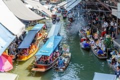 Ratchaburi / Thailand - April 21 2018: Damnoen Saduak Floating Market, District of Ratchaburi, Thailand royalty free stock image