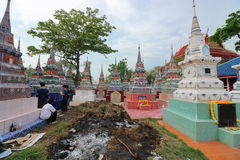 Ratchaburi, Thailand - April 4, 2017 : The pagoda contains the bones in the Qingming Festival at Jing Gung Cemetery stock images