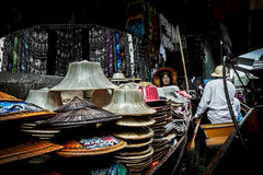 Ratchaburi, Thailand - July 26, 2014: Selling hats at Damoen Sad Stock Image