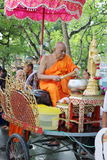 Ratchaburi, Thailand - October 18, 2016:Buddhist monks are blessing to people in the end of Buddhist Lent Day. Stock Photos