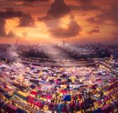 Ratchada Night market in Bangkok during sunset Royalty Free Stock Photos