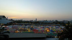 Ratchada Night Train market, Bangkok, Thailand - Circa February 2018: Colorful tents on a local market in bangkok at afterno. Ratchada Night Train market stock video footage