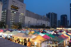 Ratchada Rot Fai Train Market in Bangkok, Thailand stock image