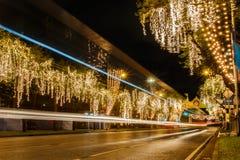 Ratchadamnoen-Straße verziert Licht Stockbild