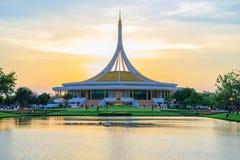 Ratchamangkhala Pavilion at public park name Suan Luang Rama IX on sunset or evening time B. Bangkok, Thailand. - August 27, 2017 : Ratchamangkhala Pavilion at royalty free stock photo