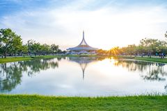 Ratchamangkhala Pavilion at public park name Suan Luang Rama IX on sunset or evening time Ban. Bangkok, Thailand. - June 17, 2017 : Ratchamangkhala Pavilion at royalty free stock photo