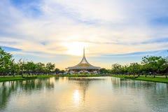 Ratchamangkhala Pavilion at public park name Suan Luang Rama IX on sunset or evening time Ban. Bangkok, Thailand. - June 17, 2017 : Ratchamangkhala Pavilion at stock photos