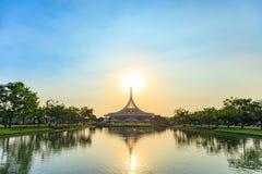 Ratchamangkhala Pavilion at public park name Suan Luang Rama IX on sunset or evening time Bangkok, Thailand. Bangkok, Thailand. - March 4, 2018 stock images