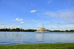 Ratchamangkhala Pavilion of Suan Luang Rama IX Public Park. (Bangkok,Thailand). In the back side view of the Pavilion is a fresh water lake. This Stock Photo