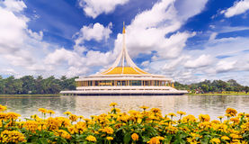 Ratchamangkhala Pavilion of Suan Luang Rama IX. Public Park Bangkok,Thailand at noon. Back side view of the Pavilion is a fresh water lake. This Place is opened Stock Images