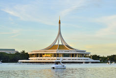 Ratchamangkhala Pavilion of Suan Luang Rama IX Public Park. Bangkok,Thailand in twilight time. Back side view of the Pavilion is a fresh water lake. This Place Stock Photo