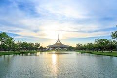 Ratchamangkhala Pavillion at public park name Suan Luang Rama IX on sunset time Bangkok, Thai. Bangkok, Thailand. - April 8, 2017 : Ratchamangkhala Pavillion at stock photos
