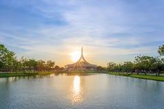 Ratchamangkhala Pavillion at public park name Suan Luang Rama IX on sunset time Bangkok, Thai. Bangkok, Thailand. - April 8, 2017 : Ratchamangkhala Pavillion at stock image