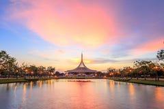 Ratchamangkhala Pavillion at public park name Suan Luang Rama IX on sunset time Bangkok, Thai. Bangkok, Thailand. - April 8, 2017 : Ratchamangkhala Pavillion at royalty free stock photos