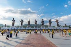 Ratchapak皇家公园和泰国的七位国王雕象由泰国皇家军队修建 免版税图库摄影