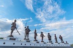 Ratchapak皇家公园和泰国的七位国王雕象  免版税库存照片